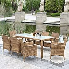 Wicker Patio Table Set Ikayaa 9pcs Outdoor Dining Set Wicker Patio Table And