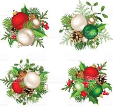 christmas decorations with red silver and green balls vector