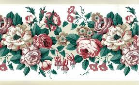 cabbage roses vintage wallpaper border rose lavender green waverly