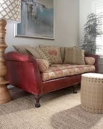 Leather And Tapestry Sofa Leather With Fabric Cushions Furniture Pinterest