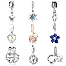 sterling silver crystal heart bracelet images Authentic 925 sterling silver beads good luck clover crystal heart jpg