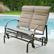 Gliding Adirondack Chairs Weatherproof Outdoor Loveseat Glider Chair With Padded Sling Seats