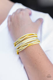 rhinestone wrap bracelet images Paparazzi quot all hairspray and glitter quot yellow suede white jpg