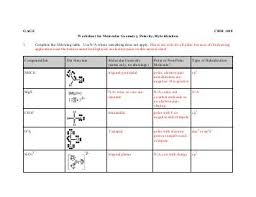 molecular geometry worksheet with answer key