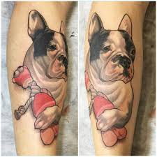 neotraditional style french bulldog tattoo on the left calf