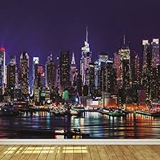 New York At Night Wallpaper The Wallpaper by New York City Skyline At Night 7 Wallpaper Mural Amazon Com
