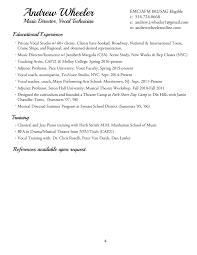music director resume andrew wheeler general resume summary exles photo music teacher format