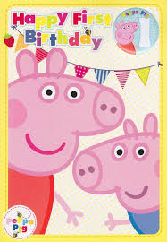 peppa pig birthday peppa pig 1st birthday card with badge cardspark