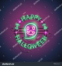 happy halloween funny picture happy halloween neon sign funny ghost stock vector 700016293