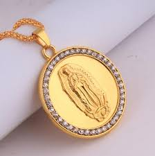 gold round necklace images Wholesale hip hop 18k gold plated blessed virgin mary crystal jpg