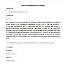 sample recommendation letter for mba free editable templatezet