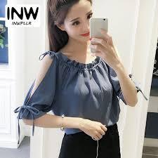 open shoulder blouse 2018 verano blusas open shoulder blouse chiffon o neck