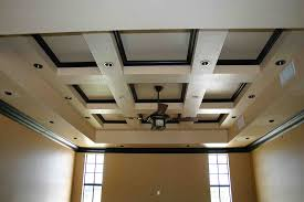entrancing home interior design using modern coffered ceiling