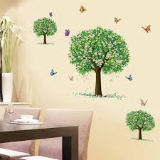 colormix three trees pattern wall sticker for bedroom livingroom
