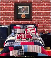 Newsprint Comforter Decorating Theme Bedrooms Maries Manor Fire Truck Bedroom Decor