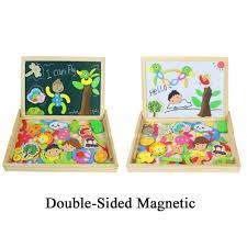 Holzpuzzle Tafel Magnetisches Legespiel Lernspiel Doppelseitige