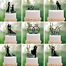 1 unit black acrylic romantic wedding decoration cake topper