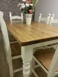 Dining Table Chairs And Bench - shabby chic rustic farmhouse solid 8 seater dining table bench and