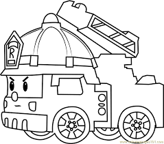 roy fire truck coloring free robocar poli coloring pages