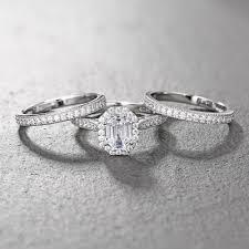 emerald cut wedding set tinnivi classic sterling silver emerald cut created white sapphire
