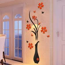 3d Flower Vase Universal New Arrival 3d Art Flower Vase Plum Tree Wall Acrylic