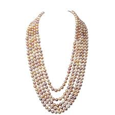 strand necklace images Multicolor pink pearl multi strand statement necklace natural JPG