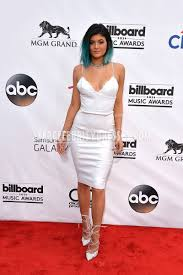 kylie jenner billboards 2014 ivory spaghetti strap short evening