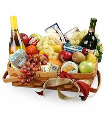 gourmet fruit baskets jolly wishes gourmet fruit basket with wine wine fruit