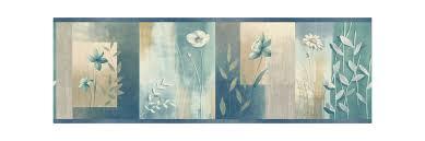 Decorative Wallpaper Borders Brewster Mea24625b Bonnard Turquoise Colorblock Floral Border