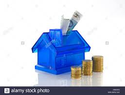 Euro House Euro Coins And Paper Money For The Blue House Stock Photo Royalty