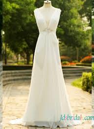 h1570 cheap simple plunging chiffon low back wedding dress