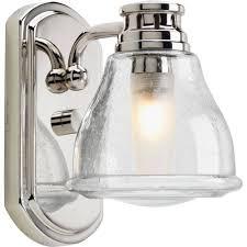 one light polished chrome clear seeded glass bathroom sconce