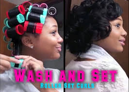 roller set relaxed hair updated roller set hair tutorial wash set your hair youtube