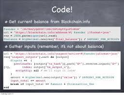 bitcoin info code get current balance from blockchain info sender