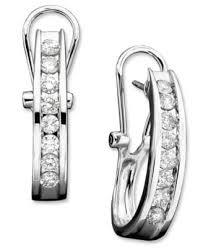 white gold diamond hoop earrings diamond hoop earrings in 10k white gold 3 8 ct t w earrings