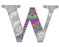 zentangle alphabet coloring pages adults letter doodle
