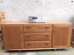 vintage ercol 455 long sideboard mid century blonde elm in