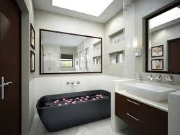 Bathroom With Mirrors Monochrome Bathroom With Black Tub And Mirrors Interior Design
