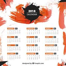 Calendar 2018 Ai Template 2018 Calendar Template With Orange Stains Vector Free