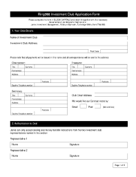 sample investment club membership form fill online printable