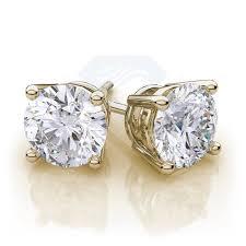 yellow gold stud earrings moissanite stud earrings in 18k yellow gold 1 50ctw vs e f