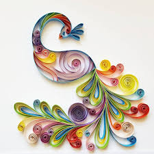 Quilled Paper Art Colourful Peacock Handmade Artwork Paper - Handmade home decoration