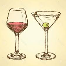 martini vintage best hd sketch martini and wine glass in vintage style vector