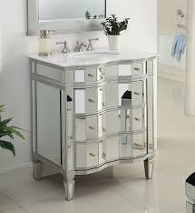 Furniture Vanity For Bathroom 30 Mirrored W Silver Trim Bathroom Sink Vanity Cabinet