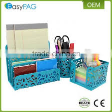 Magnetic Desk Organizer Multicolor Embossing Mesh Card Letter Tray Metal Magnetic Pen