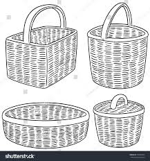 vector set wicker basket stock vector 579689644 shutterstock