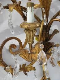 Candelabra Wall Sconces Vintage Italian Tole Glass Prisms Wall Sconce Lamp Candelabra