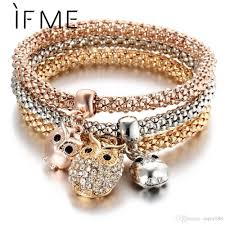 rhinestone bracelet charms images Crystal owl crown charm bracelets bangles rose gold color elephant jpg