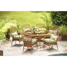 hampton bay clairborne 7 piece patio dining set with moss cushions