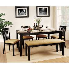 weston home tibalt 6 piece rectangle black dining table set 60 weston home tibalt 6 piece rectangle black dining table set 60 in with ladder back chairs bench hayneedle